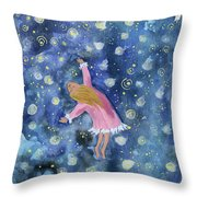 Alice Flying Inthe Night Sky Throw Pillow