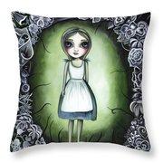 Alice In The Deadly Garden Throw Pillow