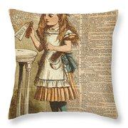 Alice In Wonderland Drink Me Vintage Dictionary Art Illustration Throw Pillow