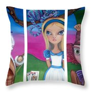 Alice In Wonderland Inspired Triptych Throw Pillow