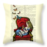 Alice In Wonderland Playing With Cute Cat And Butterflies Throw Pillow
