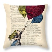 Alice In Wonderland With Big Colorful Balloons Throw Pillow
