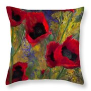 Alicias Poppies Throw Pillow
