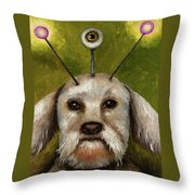 Alien Dog Throw Pillow