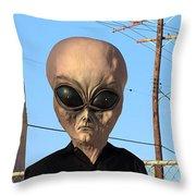 Alien Face At 6th Street Bridge Throw Pillow