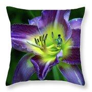 Alien On Flower Throw Pillow