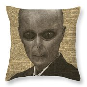 Alien Over Dictionary Page Throw Pillow