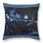 Alien Saucers Playing Dodge Rock Throw Pillow