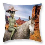 Alien Vacation - Monument Valley Throw Pillow