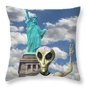 Alien Vacation - New York City Throw Pillow