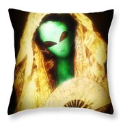 Alien Wearing Lace Mantilla Throw Pillow