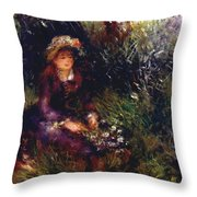Aline Charigot With A Dog 1880 Throw Pillow
