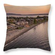 Alki Point Aerial Sunset Throw Pillow