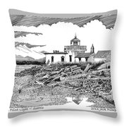 Alki Point Lighthouse Seattle Throw Pillow