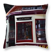 All Aboard For Brooklyn Bridge Throw Pillow