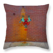 All Alone Red Pipe Throw Pillow