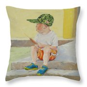All American Boy Throw Pillow