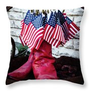 All American Flag And Red Boots - Painterly Throw Pillow