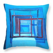 All Square And Blue Throw Pillow