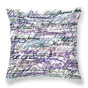 All The Presidents Signatures Blue Rose Throw Pillow