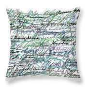 All The Presidents Signatures Teal Blue Throw Pillow