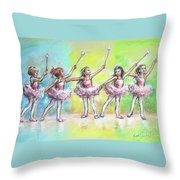All Together Now...first Ballet Recital Throw Pillow by Laurie Shanholtzer