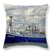 Cloudy Day On The Marina Throw Pillow