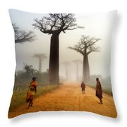Alley Of The Baobab Throw Pillow