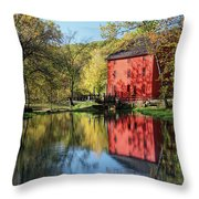 Alley Spring Mill Reflection Throw Pillow