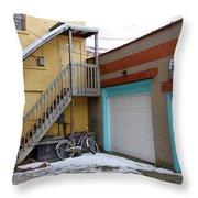 Alleyway Bike Throw Pillow