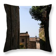 Alleyway In San Gimignano Throw Pillow