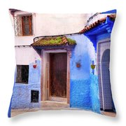 Alleyway In The Blue City Throw Pillow