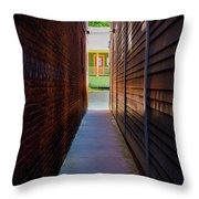 Alleyway To Green Throw Pillow