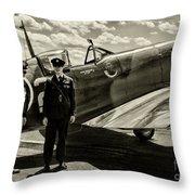 Allied Pilots Taking Stock Throw Pillow