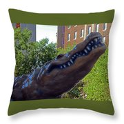 Alligator Statue 4 Throw Pillow
