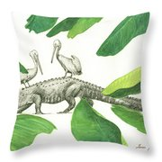 Alligator With Pelicans Throw Pillow
