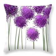 Alliums Flower Art - Purple And Gray Art Throw Pillow by Lourry Legarde