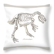 Allosaurus Skeleton Throw Pillow