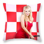 Alluring Long Haired Blonde Beauty In Retro Cafe Throw Pillow