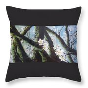 Almond Blossom Triptych Throw Pillow