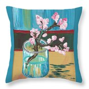 Almond Blossoms In A Glass Throw Pillow