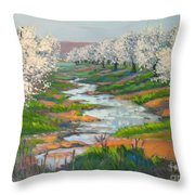 Almond Orchard In Bloom Throw Pillow