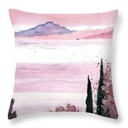 Almond Tree By The Sea Throw Pillow