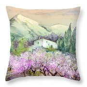 Almond Trees In Altea La Vieja Throw Pillow