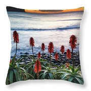 Aloe Vera In Flower At The Seaside Throw Pillow