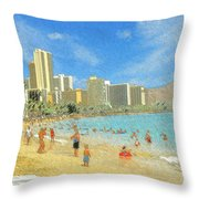 Aloha From Hawaii - Waikiki Beach Honolulu Throw Pillow