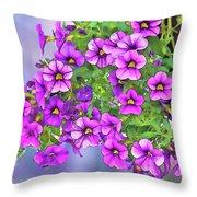 Aloha Purple Sky Calibrachoa Abstract I Throw Pillow