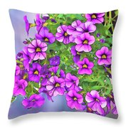 Aloha Purple Sky Calibrachoa Abstract I Throw Pillow