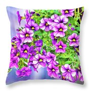 Aloha Purple Sky Calibrachoa Abstract II Throw Pillow