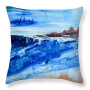 Alone By The Sea Abstract Seascape Throw Pillow